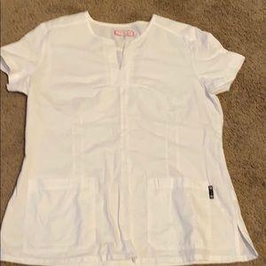 Koi White extra large scrub top